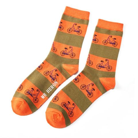 MENS BIKE ORANGE SOCKS